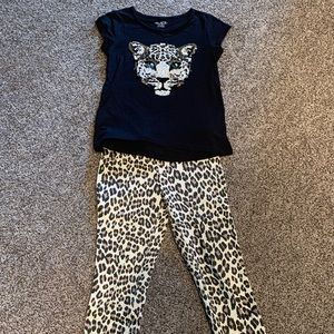 leopard jeggings, matching sequin tiger shirt EUC